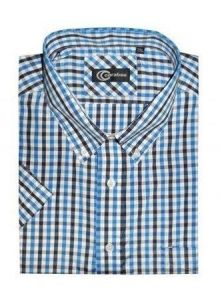 CARABOU COTTON BLEND SHORT SLEEVED GINGHAM CHECK (07) IN SIZE SMALL-XXL, 2 COLORS