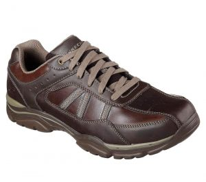 SKECHERS Men's Extra Wide Fit-Relaxed Fit Rovato Texon in Chocolate Brown