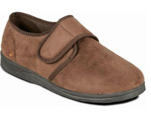Padders Wide Fit Touch Strap House Slippers (Charles) in Brown Microsuede in UK6 to UK13