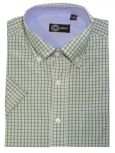 Carabou Cotton Blend Short Sleeved Check Shirts (0215),Size Small-XXL, 8 Colors