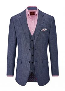 SKOPES Mens Alessandro Textured Blue Jacket and Waistcoat Combination in Size 50 To 62, S/R/L