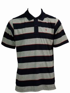 LOUIE JAMES POLY COTTON GREY/BLACK/RED STRIPED GOLF MENS POLO SHIRT IN SIZE M TO XXL