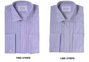 "PARADIGM MENS PURE COTTON NON IRON STRIPED FORMAL SHIRTS WITH CUTAWAY COLLAR (7032) IN COLLAR SIZE 18 TO 23"", 2 COLOR OPTIONS"