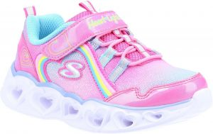 Skechers Heart Lights Rainbow Lux Sports Shoes Childrens Sports in Pink/Mulitcoloured