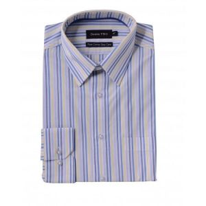 "DOUBLE TWO MENS PURE COTTON EASY CARE MULTI STRIPE LONG SLEEVED FORMAL SHIRT COLLAR SIZE 18"" TO 23"""