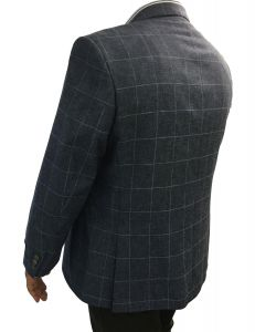 SCOTT Mens Linen Blend Over Check Sports Jacket in Blue Size 50 to 60, S/R/L