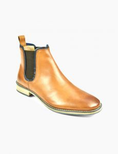 FRONT Mens Round Stanford Boot Slip On Shoes Tan UK 7 to UK 12