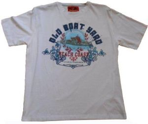 """METAPHOR PURE COTTON PRINTED T SHIRT """"OLD BOAT YARD"""" SIZE 2XL TO 8XL, WHITE & SKY BLUE"""