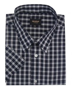 Metaphor Mens Poly Cotton Checked Short Sleeve Shirt (14320) in Navy/White