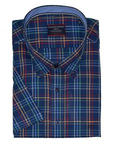 Casa Moda Premium Cotton Button Down Collar Navy Red Check Shirt,Size XXL-5XL