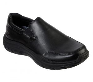 SKECHERS Men's Relaxed Fit Expected 2.0 Slip On Casual Dress Comfort Loafer Moc in Black