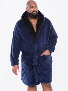 Duke - D555 Super Soft Dressing Gown With Hood In Navy 2Xl-8Xl