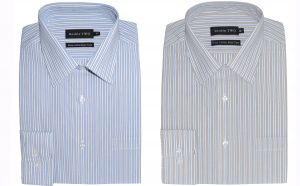 """Double Two Cotton Cut Away Collar Striped Shirt (3642), Collar 18""""-21"""", 2 Options"""