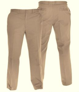 "OAKMAN FLEXI WAIST COTTON TWILL CHINO TROUSERS IN MOCHA IN WAIST SIZE 32 TO 64"" & INSIDELEG 30/32/34"