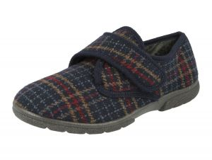 Men'S Slippers / House Shoes (Tartan)6V Wide Fit By Db Shoes in Navy