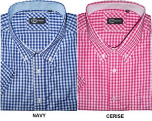 CARABOU COTTON BLEND SHORT SLEEVED GINGHAM CHECK (02),SIZE SMALL-XXL,2 COLORS