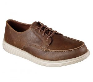 SKECHERS Men's Relaxed Fit Status-Lerado Leather Casual Shoes in Brown