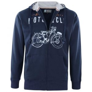 KAM Mens Cotton Rich Fleece Motorcycle Print Hooded Top in size 2XL to 8XL, 2 Color Options