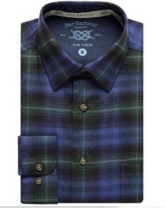 Mens Bar Harbour Big Size Blue And Green Brushed Cotton Check Long Sleeved Shirt