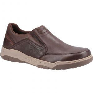Hush Puppies Fletcher Slip Ons Mens Shoes in Coffee
