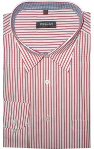 GCM MENS FORMAL PREMIUM COTTON STRIPED CLASSIC SHIRTS (3143) IN SIZE 2XL TO 5XL, BLUE & RED