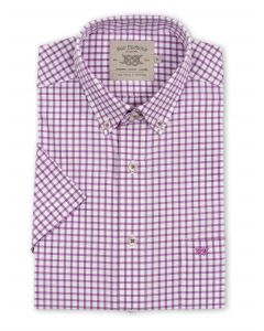 Bar Harbour Plus Size Short Sleeve Check Shirt Navy And Purple 2Xl-5Xl