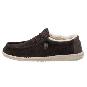 DUDE Shoes Wally Corduroy Faux Fur Lined Shoes in Chocolate