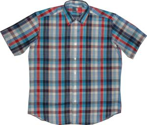 OLD ENGLAND COTTON RICH SHORT SLEEVED SMART CASUAL SHIRT (BLUE RED),SIZE S-XXL