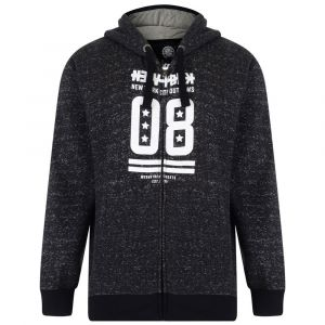 KAM Cotton Rich Full Zip Through Hoody (NY Outlaws Theme Print) in Black in Sizes 2XL to 8XL