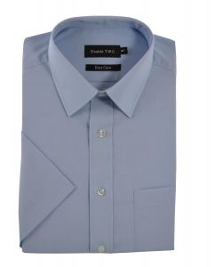 Double Two Mens Classic Fit Cotton Blend Half Sleeved Plain Shirt (3300)