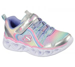 Skechers Heart Lights Rainbow Lux Sport Shoes Childrens Sports in  Silver/Multicoloured