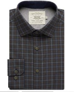 Mens Bar Harbour Big Size Navy/Brown Check Long Sleeved Shirt