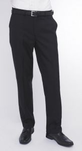 SKOPES WOOL BLEND FLAT FRONT TROUSERS BLACK