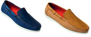 D555 MENS CANVAS/SUEDE  MIX SLIP ON SHOES (OTTO) IN SIZE UK12 (EU 48) TO UK15 (EU 51), 2 OPTIONS