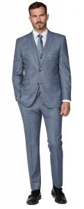 SCOTT Mens Premium Classic Fit Light Blue Tan Over Check 2 Piece Suit Combination in Size 34 to 60, S/R/L