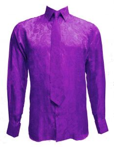 Mens Paisley Print Satin Fashion Shirt with Matching Tie