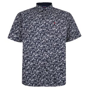 Espionage Mens Big Size Floral Print Shirt (341) in Navy/White
