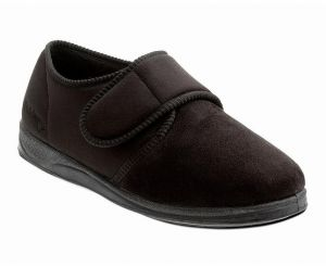 PADDERS WIDE FIT TOUCH STRAP HOUSE SLIPPERS (CHARLES) IN BLACK MICROSUEDE, SIZE UK6 TO UK12