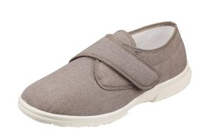 Men'S Canvas / Summer Shoes (Cannock)6V Wide Fit in Taupe By DB Shoes in Taupe