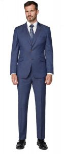 SCOTT Mens Premium Classic Fit Navy Pin Dot 2 Piece Suit Combination in Size 34 to 60, S/R/L