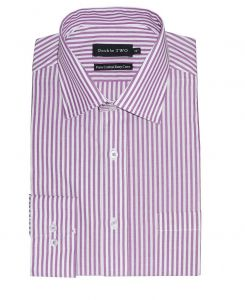 "DOUBLE TWO Pure Cotton Easy Care Long Sleeved Striped Mens Formal Shirts (3610) in Collar 15 TO 23"", 3 COLOR OPTIONS"