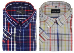 Henderson Cotton Rich Window Check Leisure Short Sleeve Shirts (3747) Size 2XL-6XL,2 Options