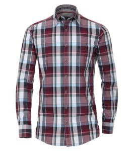 Casa Moda Premium Cotton LS Comfort Fit Shirt in Red/Navy Check