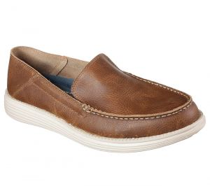 SKECHERS Men's Relaxed Fit Status-Breson Casual Leather Shoes in Brown