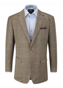 SKOPES MENS ANDREW LINEN BLEND BROWN WINDOW CHECK JACKET IN CHEST SIZE 40 TO 62 INCHES, SHORT, REGULAR AND LONG FITTING