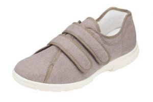 DB SHOES MENS HARRIS DOUBLE VELCRO CANVAS IN TAUPE, (4E FIT) EXTRA WIDE