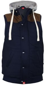 D555 MENS QUILTED FLEECE WAISTCOAT WITH HOOD&SUEDE SHOULDER,SIZE 1XL-6XL,2 COLORS