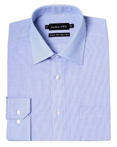 "DOUBLE TWO Mens Cotton Rich Easy Care Long Sleeved Striped Formal Shirts (3571) in Collar 15 TO 23"", 2 COLOR OPTIONS"