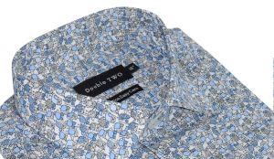 Double Two Mens Pure Cotton Easy Care Long Sleeved Printed Formal Shirt in Blue (3662) in Collar 15 To 23""