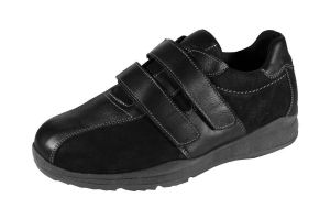 DB's Men's Extra Wide Twin Stripe Velcro Trainers in Black (2V Fit) in Size UK 6 to UK 14